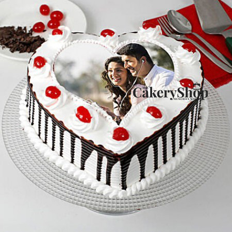 Black Forest Heart Shape Photo Cake