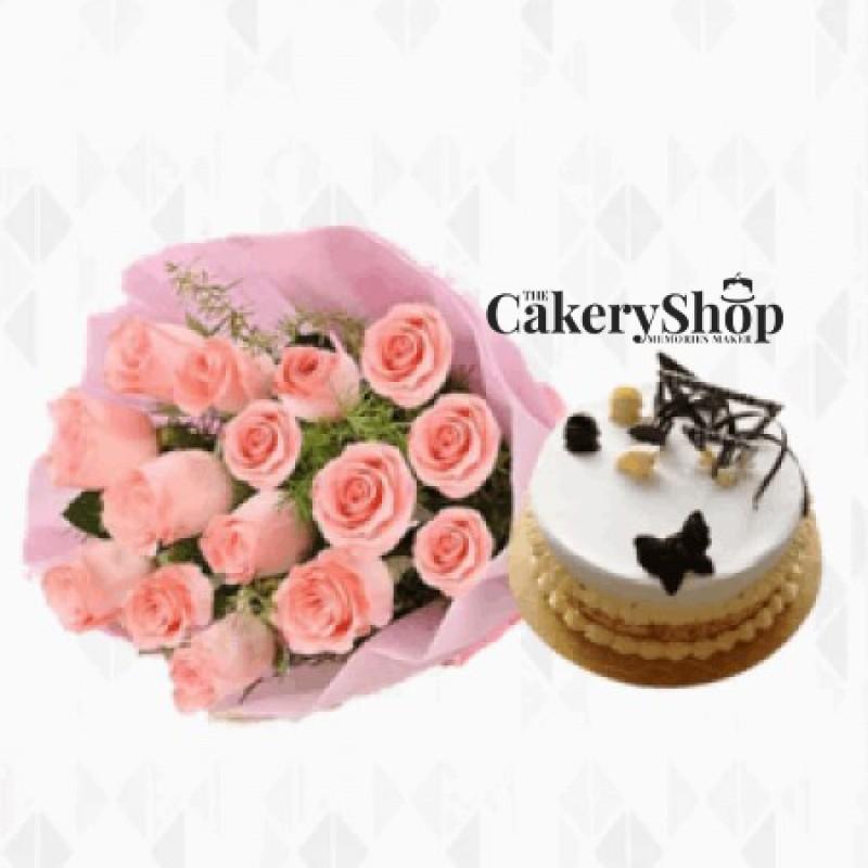 Supernatural Pink Roses & Butterscotch Cake